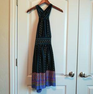 Betsey Johnson black paisley halter dress